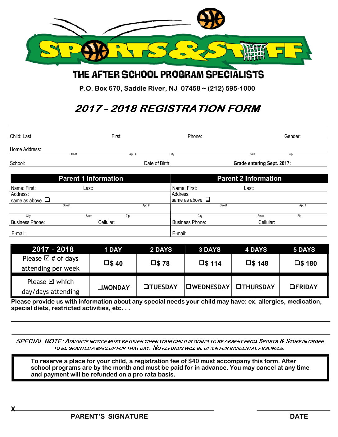 Sports & Stuff Registration