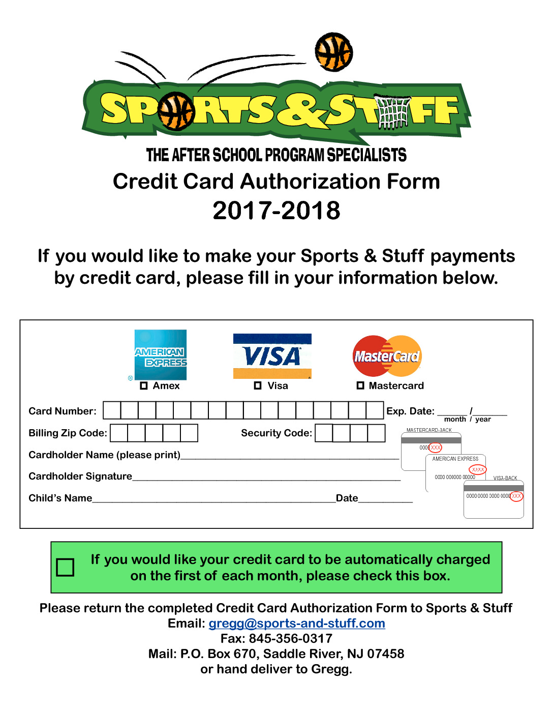 Sports & Stuff credit card authorization form