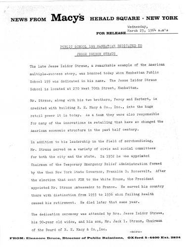 Macys Press Release - Dedication - 25 March 1964